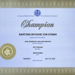 Biyounce Canadian Champion Certificate